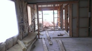 Workout room, closet and extending wall for shower and steam room