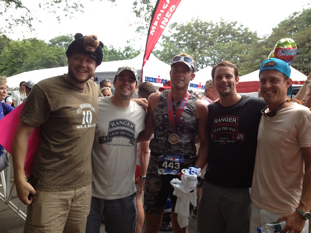 Ben Fenton surrounded by his and Jimmy's buddies after a incredible finish in the NYC Ironman