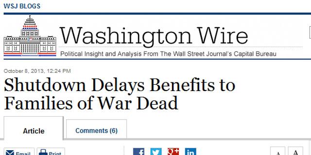 Shutdown Delays Benefits to Families of War Dead