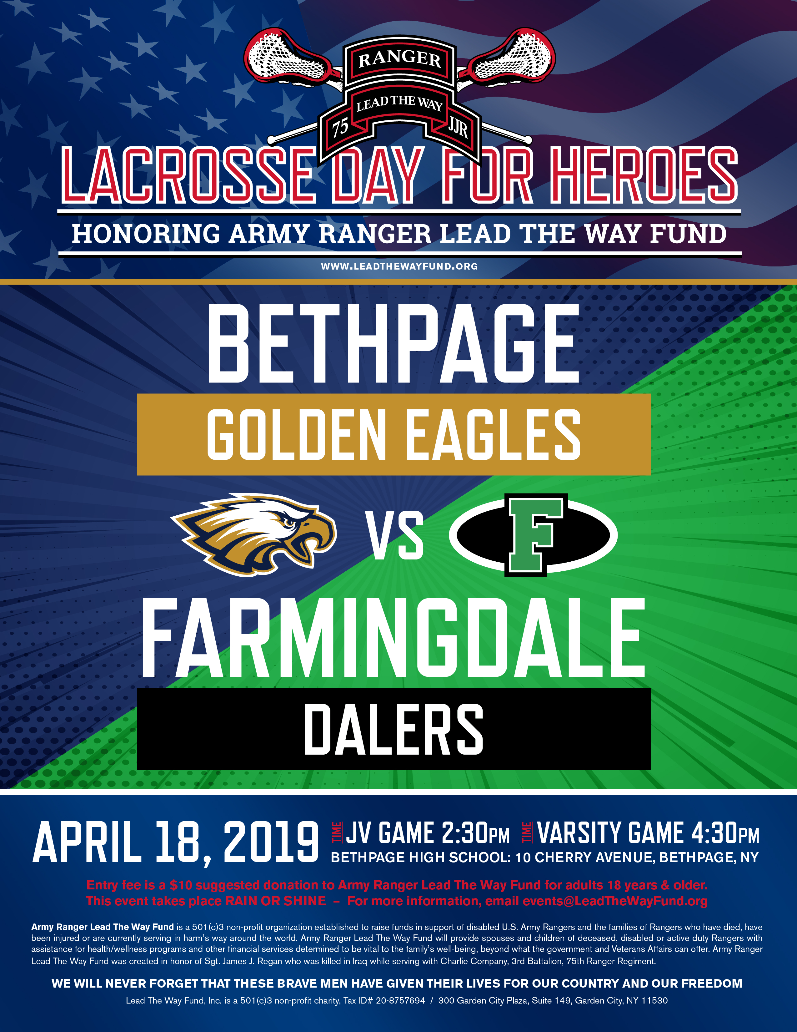 Lacrosse Day for Heroes – Farmingdale HS vs  Bethpage HS | Army